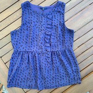 Gap Blue Leopard Print Blouse